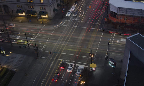 An aerial view of a traffic intersection.